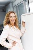 Handstil för affärskvinna på flipdiagram Arkivbild