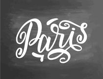 Handstil för Paris svart tavlasvart tavla Handskriven text, krita på en svart tavla, vektor Typografisk svart tavla för bokstäver Fotografering för Bildbyråer