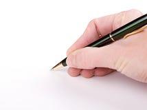 Handstil med skrivar Arkivfoton