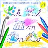 Handstil morified engelskt alfabet för rolig fantasi Stock Illustrationer