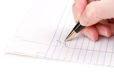 Handstil på pappers- Royaltyfri Bild