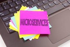 HandstilMicroservices text som göras i kontorsnärbilden på bärbar datordatortangentbordet Affärsidéen för Micro servar seminarium Fotografering för Bildbyråer