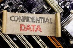 Handstiltext som visar förtroliga data Affärsidé för hemligt skydd som är skriftligt på den klibbiga anmärkningen, backgro för hu arkivfoton