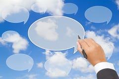 handstiltextballong på blå himmel Arkivbilder