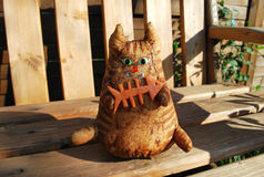 Handstitched cute soft toy cat Royalty Free Stock Photography