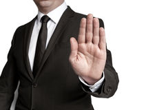 Handstop showed by businessman Stock Images