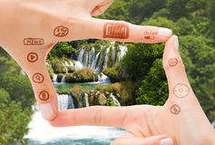 Handsymbol den digitala kamera för hjälpmedel Arkivbilder