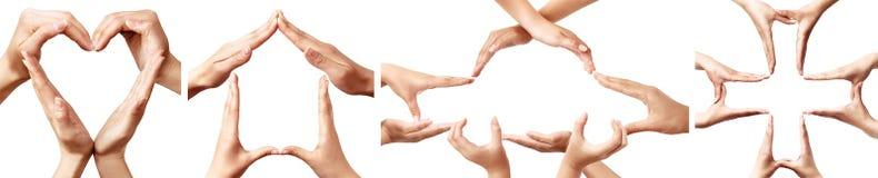 Handsymbolen die concepten verzekering vertegenwoordigen Stock Afbeeldingen