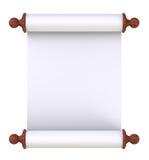 handtag över vitt trä för paper scroll Royaltyfri Foto