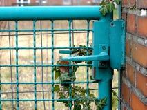 Handtag för metallgrinddörr i ett bundit grönt metallstaket arkivfoto