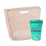 Handtas met een kop van koffie Royalty-vrije Stock Afbeeldingen