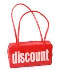 Handtasche mit Rabattzeichen Stockfotografie