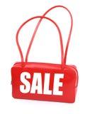 Handtasche mit rotem Verkaufszeichen Stockfoto