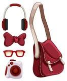 Handtasche und andere rote Gegenstände lizenzfreie abbildung