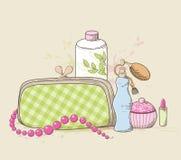 Handtasche und Kosmetik lizenzfreie abbildung