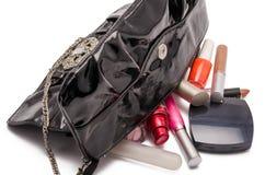 Handtasche und Kosmetik Stockfotografie