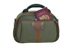 Handtasche und Paß Stockfotografie