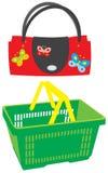 Handtasche und Warenkorb lizenzfreie abbildung