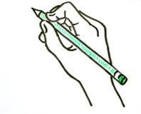 Handteckning av en hand med en grön blyertspenna Arkivbild