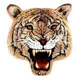 Handteckning av tigerhuvudståenden vektor illustrationer