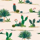 Handteckningskaktus och sömlös modell för suckulenta växter på pastellfärgad bakgrund för dekorativt, mode, tyg, textil, tryck el stock illustrationer