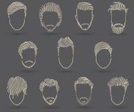 Handteckningsmäns uppsättning för stil för hår Arkivfoto