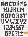 Handteckningsuppsättning av grungebokstäver Arkivfoton