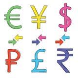 Handteckningsuppsättning av valutasymboler royaltyfri illustrationer