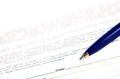 Handtekening het document Royalty-vrije Stock Afbeeldingen
