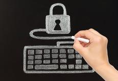 Handtekening met krijttoetsenbord met slot wordt verbonden dat Stock Foto