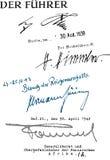 Handtekeningen Hitler, Himmler, Goering en Rommel Stock Afbeelding