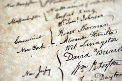Handtekeningen van de Grondwet van Verenigde Staten stock afbeeldingen