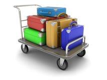 Handtruck e valigie (percorso di ritaglio incluso) Fotografia Stock Libera da Diritti