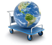 Handtruck with Globe (clipping path included). Handtruck with Globe. Image with clipping path Stock Photos
