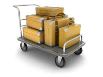Handtruck and Suitcases (clipping path included). Handtruck and Suitcases. Image with clipping path Royalty Free Stock Photography