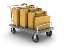 Handtruck and Suitcases (clipping path included). Handtruck and Suitcases. Image with clipping path Royalty Free Stock Photo