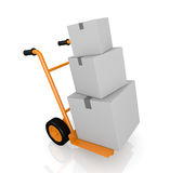 Handtruck or trolley. One hand truck (trolley) with three carton boxes (3d render Stock Photo