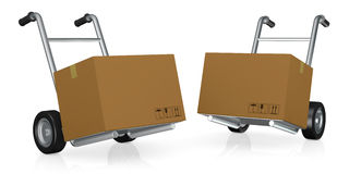 Handtruck or trolley. Two hand trucks (trolley) with carton boxes (3d render Royalty Free Stock Photography