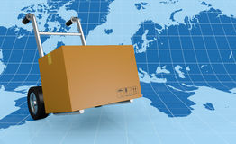 Handtruck or trolley. One hand truck (trolley) with a world map on background (3d render Stock Photos