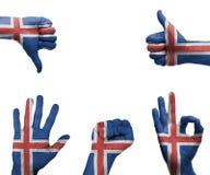 Handuppsättning med flaggan av Island Royaltyfria Bilder