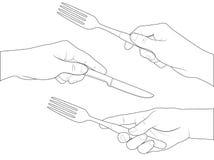 Handuppsättningkniv och gaffel vektor illustrationer