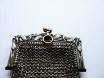 Handväska för fullödig silver för tappning inristad fransk Arkivfoton