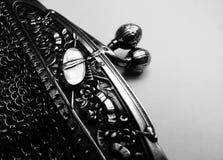 Handväska för fullödig silver för tappning inristad fransk Fotografering för Bildbyråer