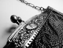 Handväska för fullödig silver för tappning inristad fransk Royaltyfri Foto