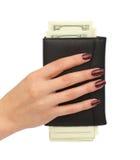 handväska för kvinnlighandpengar Fotografering för Bildbyråer