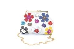 Handväska för vita kvinnor med blommor Royaltyfri Bild