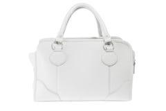 Handväska för vitt läder för förtittdamer trendig Arkivfoto