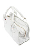 Handväska för vitt läder för förtittdamer trendig Royaltyfri Bild