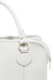Handväska för vitt läder för förtittdamer trendig Fotografering för Bildbyråer