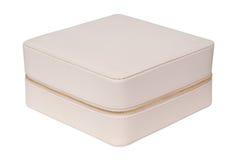 Handväska för vitt läder för skönhetsmedel Royaltyfri Foto